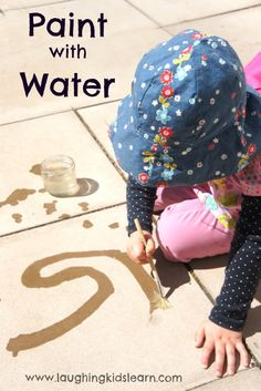 Paint with water activity for kids who are bored or wanting to be creative outdoors. It's an incredibly simple activity but kids LOVE it!