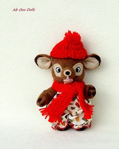 Waldorf jouet Noël jouet petite poupée tissu jouet garçon jouet poupée tissu poupée Waldorf Deer jouet bio poche Bambi jouet 5