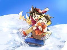 Trainers Red and Gold:Winter time - Poke Ball Pokemon Manga, Pokemon Charizard, Pokemon Comics, Pokemon Memes, Anime Manga, Pikachu Pikachu, Pokemon Funny, Gold Pokemon, Pokemon Red
