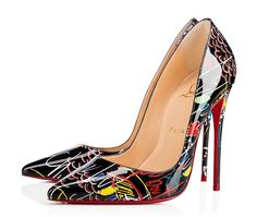 """""""So Kate"""" is a Christian Louboutin signature style known for her pointed toe and superfine stiletto heel. At 120mm, this single-sole pump in Christian's hand-drawn 'Loubitag' scribble printed white patent leather is the secret to no-rules fashion."""