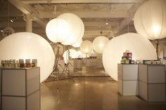 using big lighted balls to decor & light up the place