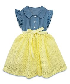 Look what I found on #zulily! Denim & Yellow Flutter-Sleeve Dress - Toddler & Dress #zulilyfinds