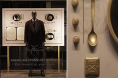 Made to Measure Canali campaign by Arte Vetrina Project Bologna Italy Bologna Italy, Retail Merchandising, Concept Board, Retail Design, Door Handles, Display, Campaign, Savile Row, Projects