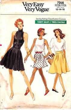 Flared culottes, above mid-knee, variations or skirt, mid-knee, have waistband, front pleats, side pockets, stitched hems and back zipper. Purchased top. Our PRE-OWNED patterns are all UNCUT (unless s