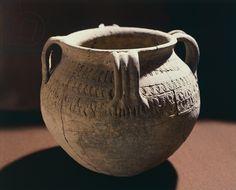 8th century ceramic vase from Strasbourg, Merovingian civilization.