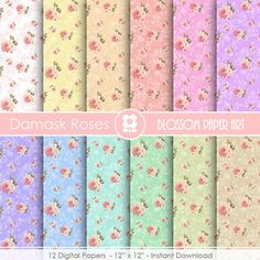 Shabby Chic Digital Paper Shabby Chic Scrapbook by blossompaperart