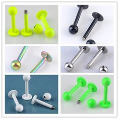 6colors 16G Stainless Steel Labret Lip Ring Ball Stud Chin Piercing Bars