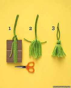 Kids can spread holiday cheer by making these festive tassels for their tree. Wrap yarn around cardboard (ours was 3 1/2 inches high) at least 10 times. Loop yarn for hanger under top strands; pull tight. Cut through bottom loops. Tie yarn around tassel near the top; trim ends evenly.