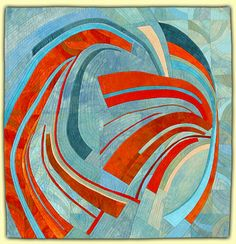 "Wings, 31 x 31"", by Ellin Larimer: Fiber Artist - Curvilinear and Counterpoint Series"