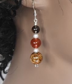 Smoky Quartz, Carnelian, Brown Agate Gemstone and Swarovski Crystal Pearl Dangle Fashion Earrings with Silver Filled Ear Wires. Sea Glass Jewelry, Wire Jewelry, Jewelry Crafts, Jewelry Sets, Beaded Jewelry, Jewelery, Silver Jewelry, Jewelry Making, Jewellery Uk