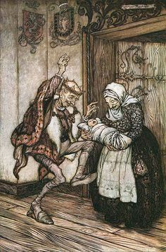 "From 'Briar Rose'. Frontispiece to ""Grimm's Fairy Tales"" illustrated by Arthur Rackham, 1909"