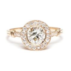 Single Stone Old Mine Cut Diamond Ring with Halo - Gorgeoussss