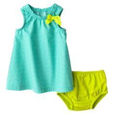 Cherokee Newborn Girls 2 Piece Dress Set - Green