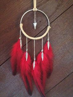 Red Dream Catcher - Feather Necklace, Red Feather Dreamcatcher, Feather Jewelry