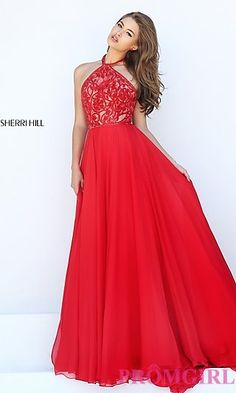 High Neck Halter Top Dress by Sherri Hill at PromGirl.com