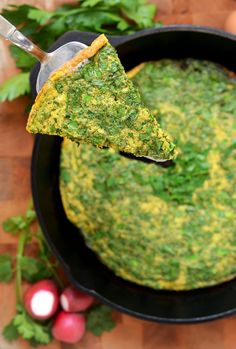 Kuku sabzi. A simple and delicious herb frittata, stuffed with chives, dill, parsley, and more. You can substitute leeks and other tender onions, too.