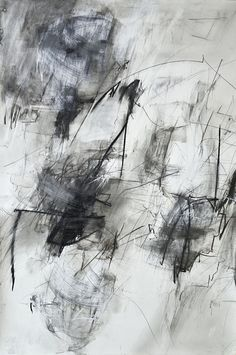 Black and White Abstract Art Drawing, Ink Pencil Charcoal Pastel, Contemporary Fine Art, Original Large 55x37 inches, Modern