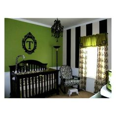 black white & Green nursery found on Polyvore (just love this green w/blk & wht for room in house)