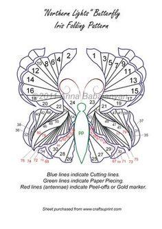 Northern Lights Butterfly Iris Folding Pattern