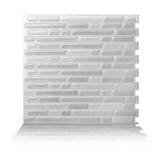 "Crystiles Peel and Stick Self-Adhesive Vinyl Backsplash Tiles, Subway White, Item# 91010838,10"" X 10"", Set of 6"