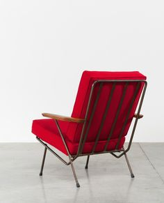 Anonymous; Tubular Metal and Wood Lounge Chair by Gelderland, c1960. Via www.furniture-love.com.