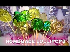 Homemade lollipop recipe / How to make lollipops at home without mould / Stained glass lollipops - YouTube How To Make Lollipops, Homemade Lollipops, Clear Lollipop Recipe, How To Make Crystals, Cute Food, Cake Pops, Fondant, Stained Glass, The Creator