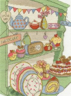I Love Tea And Cake Cross Stitch Kit £24.00 | Past Impressions | DMC