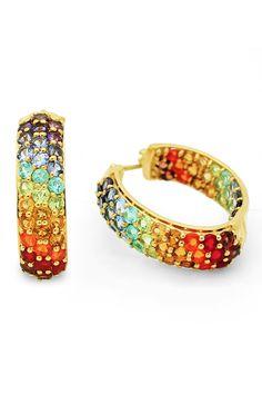 Olivia Leone | 18K Yellow Gold Plating Sterling Silver Genuine Multi-Gemstone Earrings | HauteLook