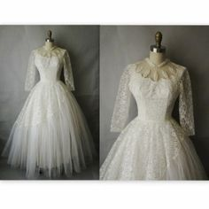 50's Wedding Dress // Vintage 1950's White Tulle Lace Wedding Dress Gown by lelia