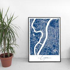Affiche Lyon France Unicolor Map Plan de ville City Map Coffee Table Art Books, Professional Photo Printer, Format A3, Lyon France, D 20, City Maps, Illustrations, Decoration, Book Art
