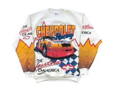 Vintage Chevrolet Racing Crewneck Sweatshirt NASCAR All Over Print Heartbeat of America Deadstoc Nascar T Shirts, Lion King Shirt, Nascar News, Nascar Racing, Auto Racing, Marvin The Martian, Vintage Fall, Vintage Mickey, Ugly Sweater