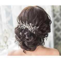 Bridal Hair Comb with Swarovski Pearls Bridal Headpiece Bridal Hair... ($88) ❤ liked on Polyvore featuring accessories, hair accessories, hair, bridal hair accessories, flower hair accessories, flower hair comb, bridal combs and swarovski crystal hair comb