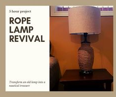 Three rolls of jute rope, a glue gun, and a can of spray paint transform an outdated junk lamp into a nautical treasure. Rope Lamp, Old Lamps, Nautical Rope, Glue Gun, Garden Projects, Home Decor Inspiration, Jute, Home Crafts, Project Ideas