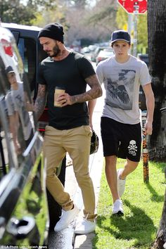 Boys' day out: David Beckham and his eldest child Brooklyn enjoyed some quality father-and...