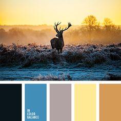 amarillo pálido, amarillo y celeste, azul oscuro y marrón, celeste vivo, color azul turquí, color casi negro, combinación contrastante, combinación contrastante de tonos pasteles, combinación de tonos cálidos y fríos, paleta de colores para invierno, paleta de invierno, selección de colores