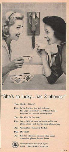 Vintage Retro Style Imagine that! 3 phones in one house! This ad came from a 1953 Woman's Day magazine. 3 phones in one house! lol This ad came from a 1953 Woman's Day magazine. Old Advertisements, Retro Advertising, Retro Ads, Product Advertising, Advertising Archives, Vintage Phones, Vintage Telephone, Retro Vintage, Weird Vintage Ads