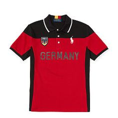 Germany Cotton Mesh Polo - Boys 1 ½ - 6 years Polo Shirts & Rugbys  - Ralph Lauren UK