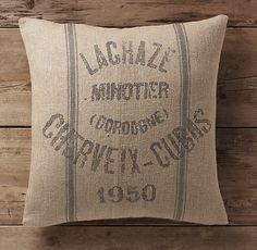Vintage French Grain-Sack Linen Double-Stripe Pillow Cover