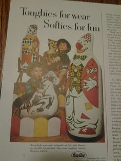 Mouse over image to zoom    Have one to sell? Sell it yourself  Vintage Vinylite 'Playroom Pals' Toys Original Print Ad w/ Bobo the Clown +More
