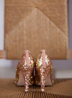 glittery copper heels