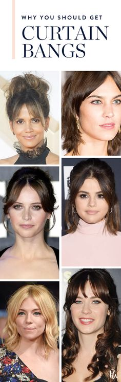 Save this guide to curtain bags featuring your favorite celebs sporting these chic fringes. #curtainbangs #hairideas #haircutideas #bangs #celebritybangs