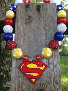Girls bubble bead necklace super girl by SweetTennesseeGirls Chunky Bead Necklaces, Chunky Beads, Beaded Necklace, Beaded Bracelets, Superman, Jewerly, Bubbles, Trending Outfits, Unique Jewelry