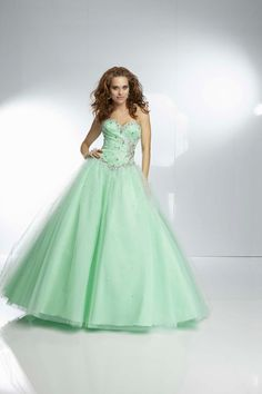 Sweetheart Brush Train Green Tulle Ball Gown Prom Dress Opa0086