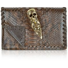 Maison du Posh Brown and Black Python Skull Ring Clutch ❤ liked on Polyvore
