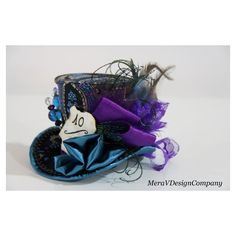 Alice In Wonderland Mini Top Hat, Steampunk Mad Hatter Hat,Women... ❤ liked on Polyvore featuring accessories, hats, bridal fascinator hats, top hat, steam punk top hat, tea party hats and bridal hats