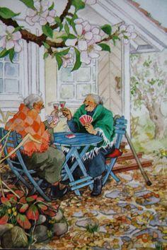 Inge Look Aunties Playing Cards Old Lady Humor, Nordic Art, Old Folks, Old Women, Getting Old, Amazing Art, Illustrators, Folk Art, Art Drawings