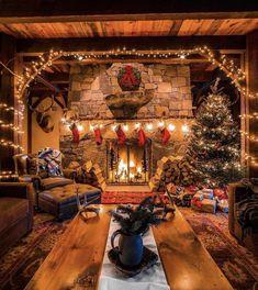 Days To Christmas, Cabin Christmas, Christmas Living Rooms, Christmas Scenes, Rustic Christmas, White Christmas, Christmas Lights, Christmas Decorations, Holiday Decor