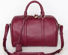 Sofia Coppola Style Burgundy Leather Tote. Boston Bag. Small Size