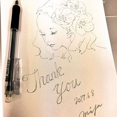 Webショップに同封しているThank youカードがそろそろなくなりそうなので新調しようかと思います #watercolor #art #draw #illustration #illust #illustrator #イラスト #落書き #手書き #手描き #シャーペン #アナログ #アナログイラスト #flower #花