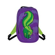 #skunkgirls by #toddbratrud, #citrusreport, #backpack, #bag, #bookbag, #unisex, #skunk, #illustration, #green, #animal, #animallover, #stinky, #stink, #funky, #smelly, #smell, #design, #@The Citrus Report